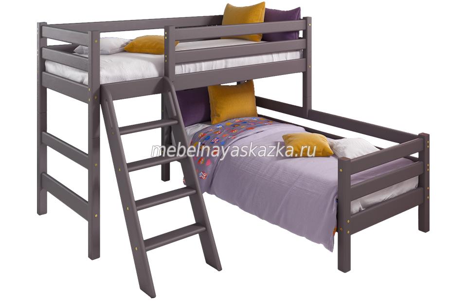 """Кровать """"Соня"""" вариант №8 с наклонной лестницей"""