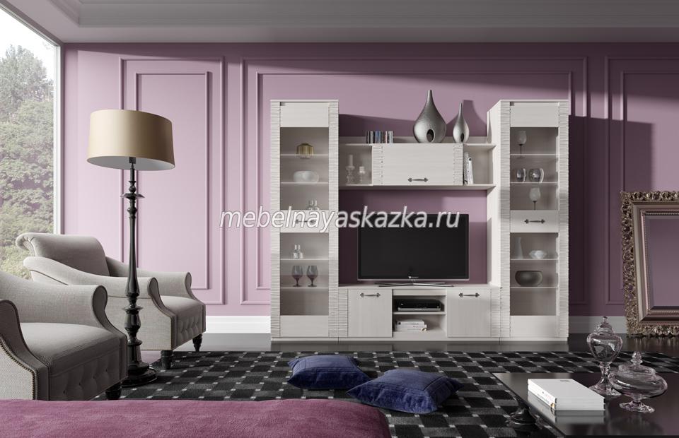 """Модульная гостиная """"Элана"""" Бодега Белая"""